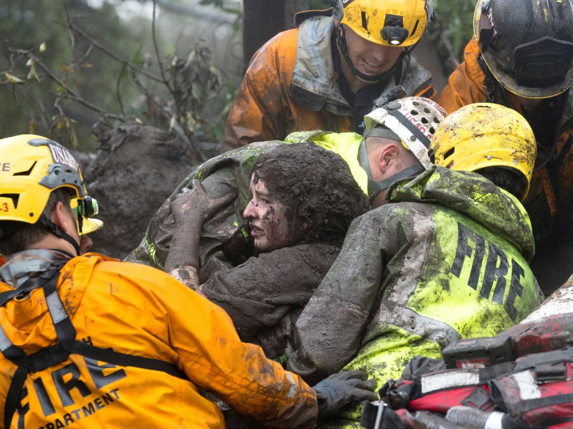 Califórnia: As imagens do caos provocado pelo deslizamento de terras