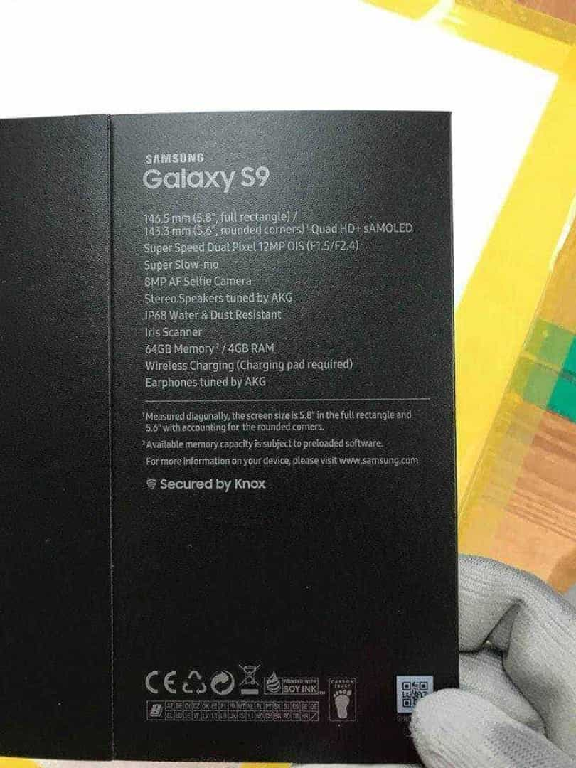 Fuga de informação revela caixa do Galaxy S9 e detalhes da câmara