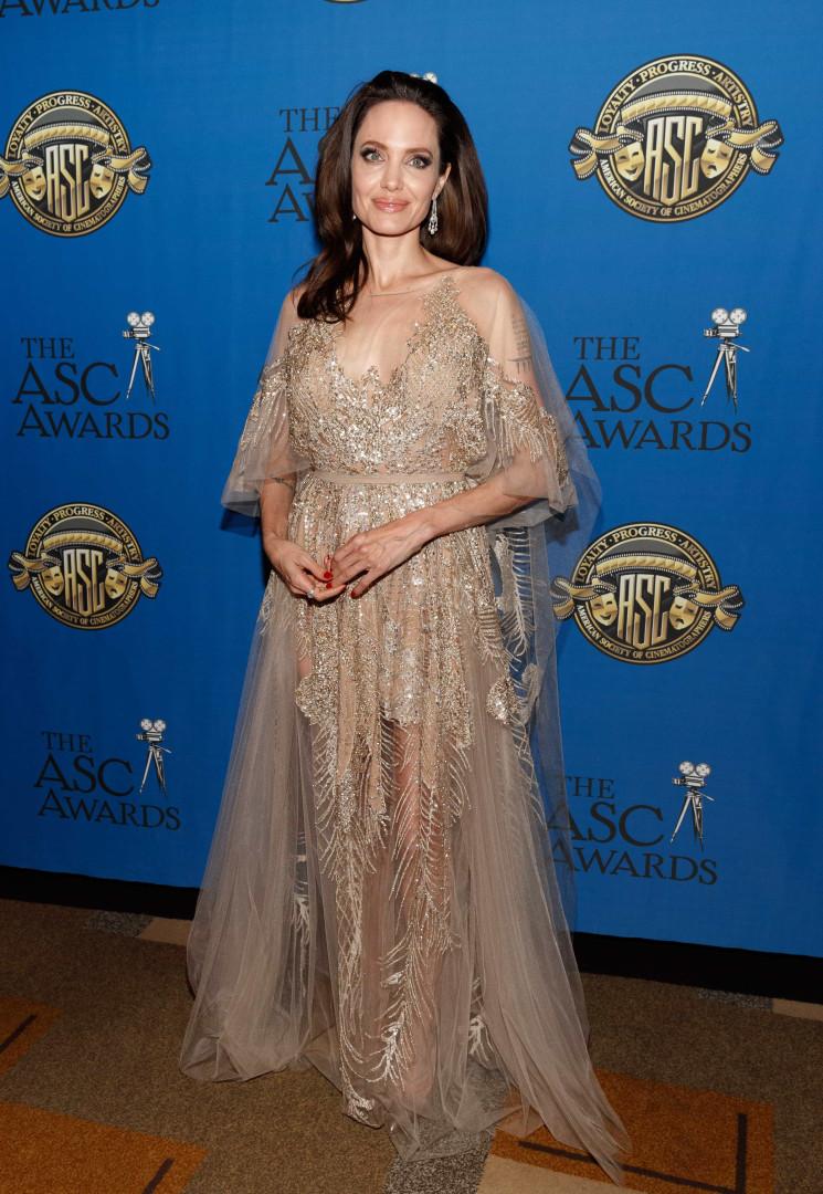 Angelina Jolie brilha como 'uma fada' com vestido único em gala