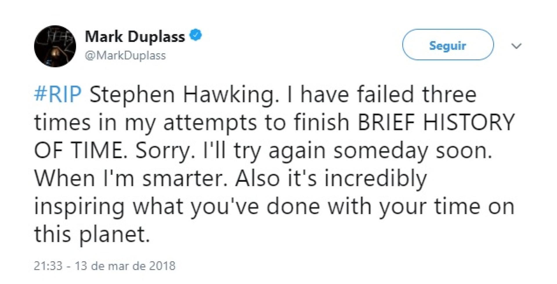 Celebridades prestam última homenagem a Stephen Hawking nas redes sociais
