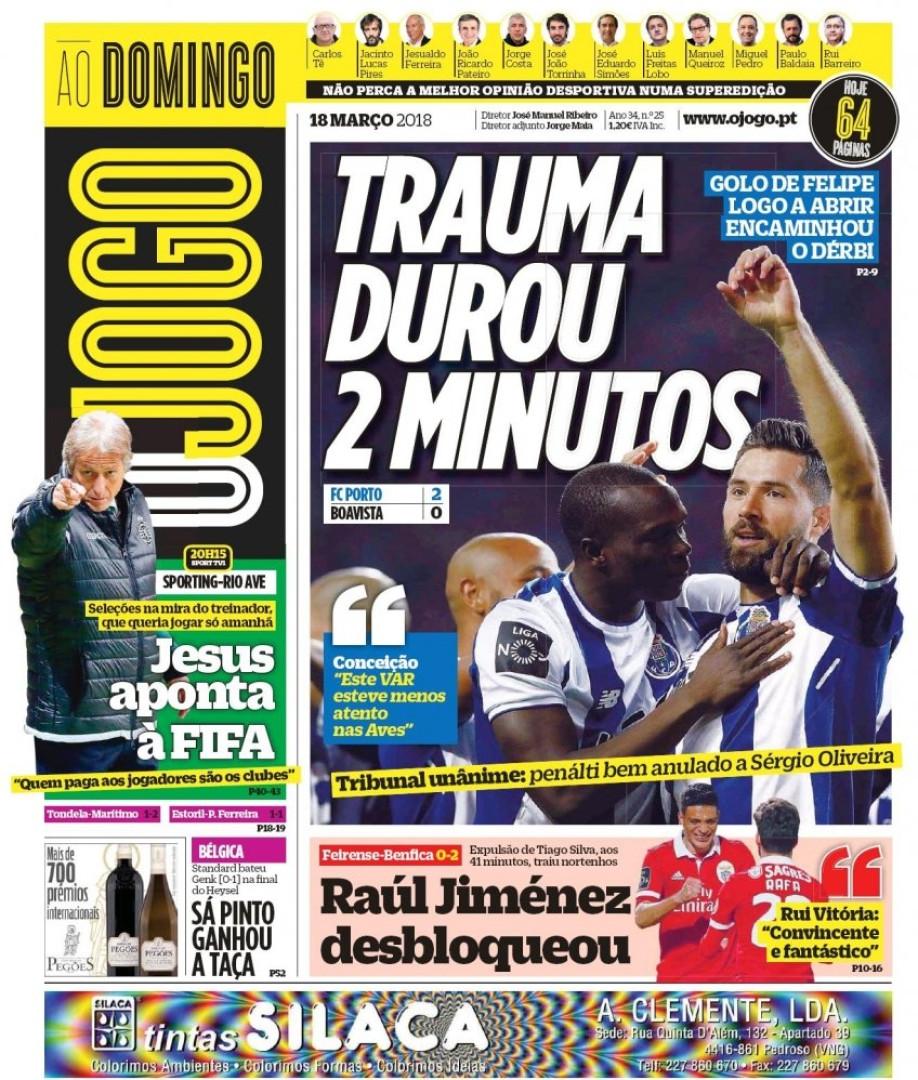 """Imprensa nacional: Luta """"mano a mano"""" e Jesus contra a FIFA"""