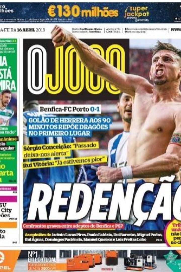 """Golaço de Herrera e o """"regresso à liderança"""" dominam a imprensa nacional"""