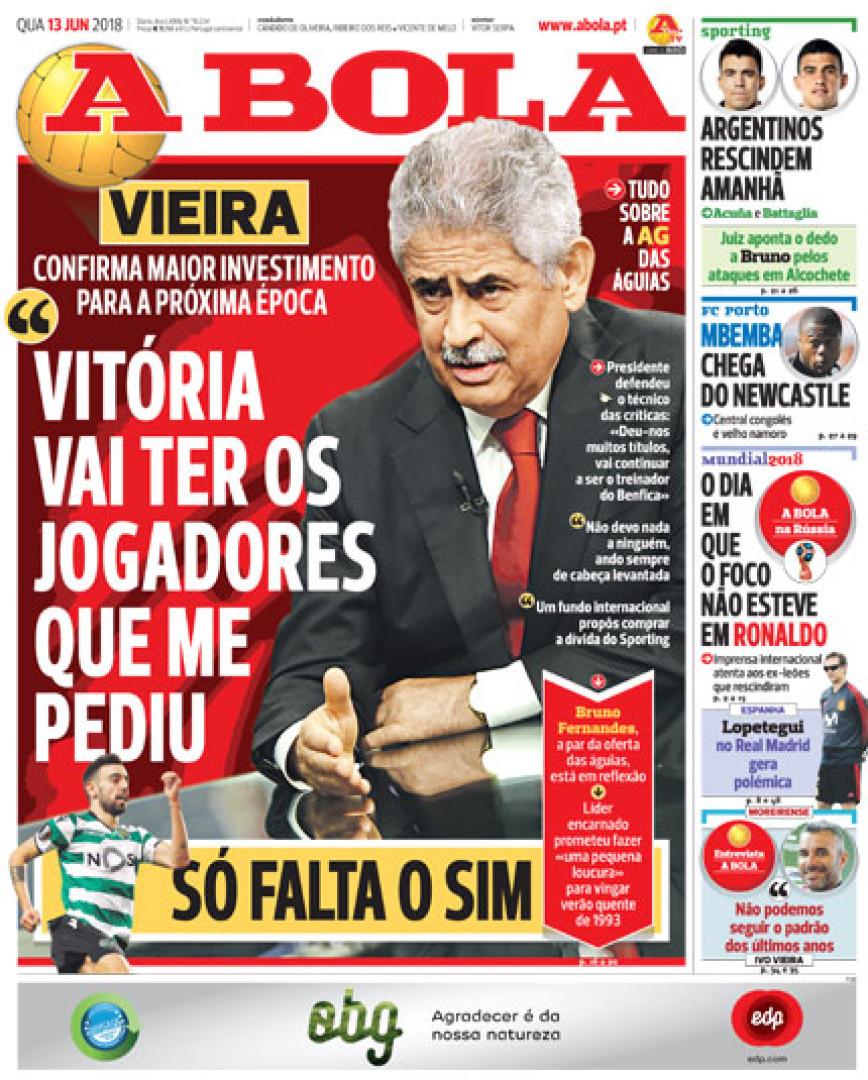 Imprensa nacional: As promessas de Vieira e as interrogações leoninas