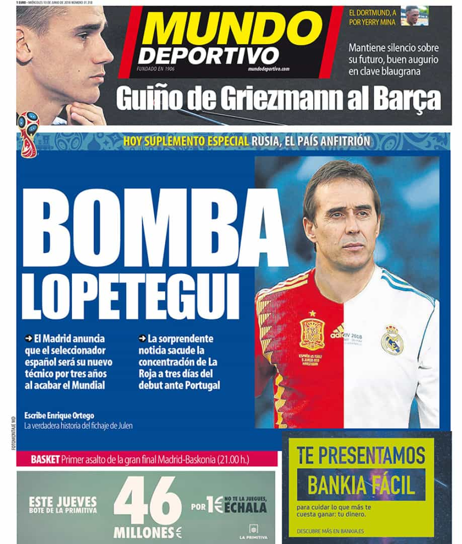 Imprensa internacional: 'Bomba' Lopetegui abala mundo do futebol