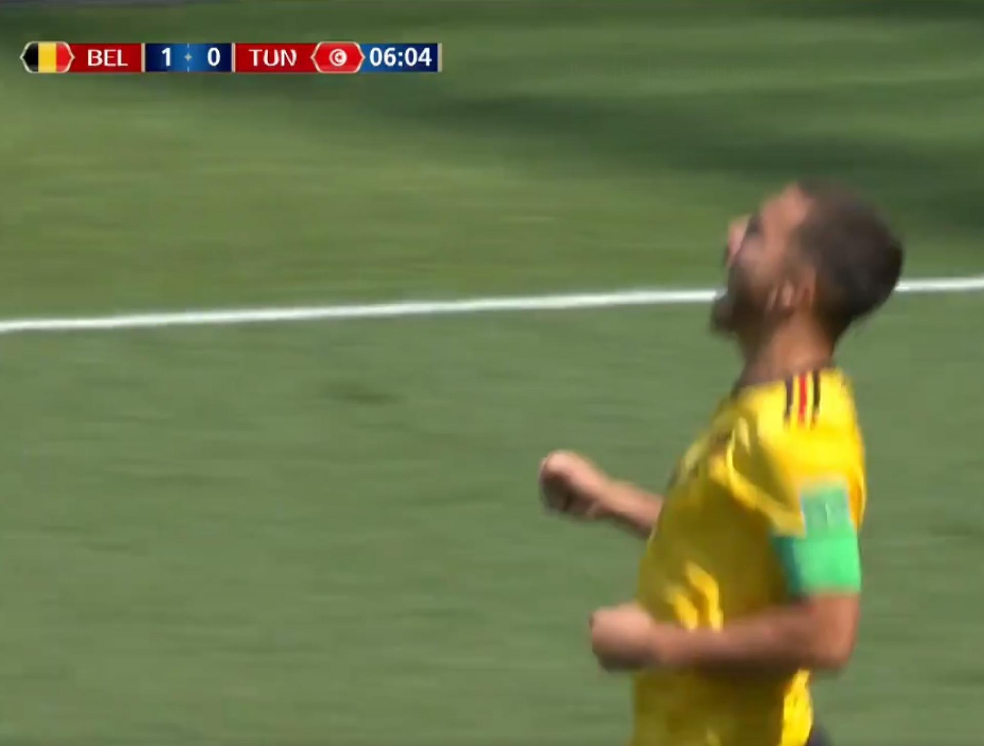 Hazard deixou o guardião tunisino de joelhos e deu vantagem à Bélgica