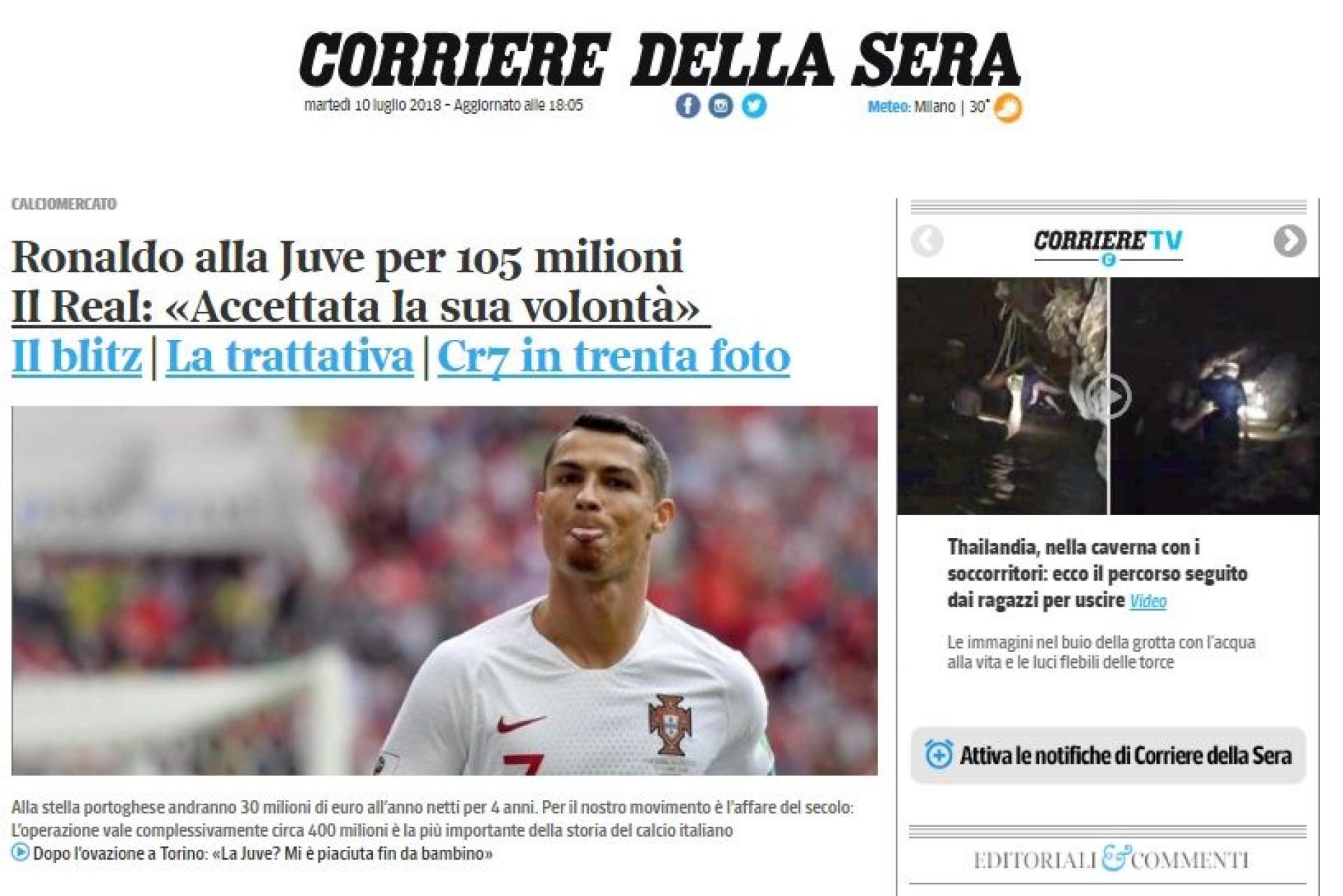 """""""Cristiano è nostro"""": Ele ainda nem jogou e Itália já está apaixonada"""