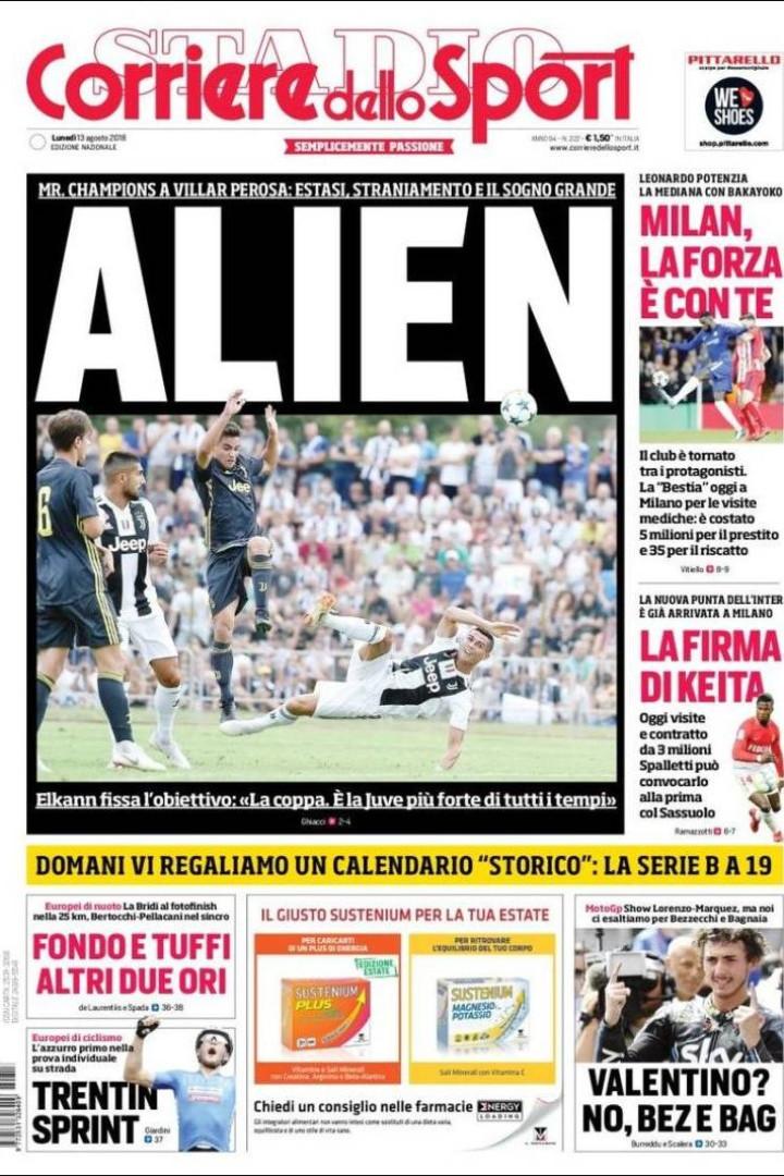 """Lá por fora: """"CristiAMO"""" Ronaldo, dizem por Itália que és um 'alien'"""