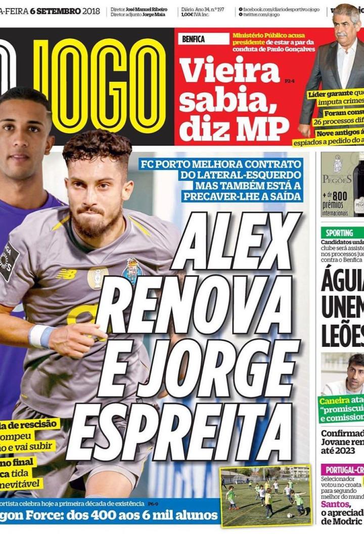 Por cá: O pedido de Vieira, mais uma renovação no Dragão e... em Alvalade