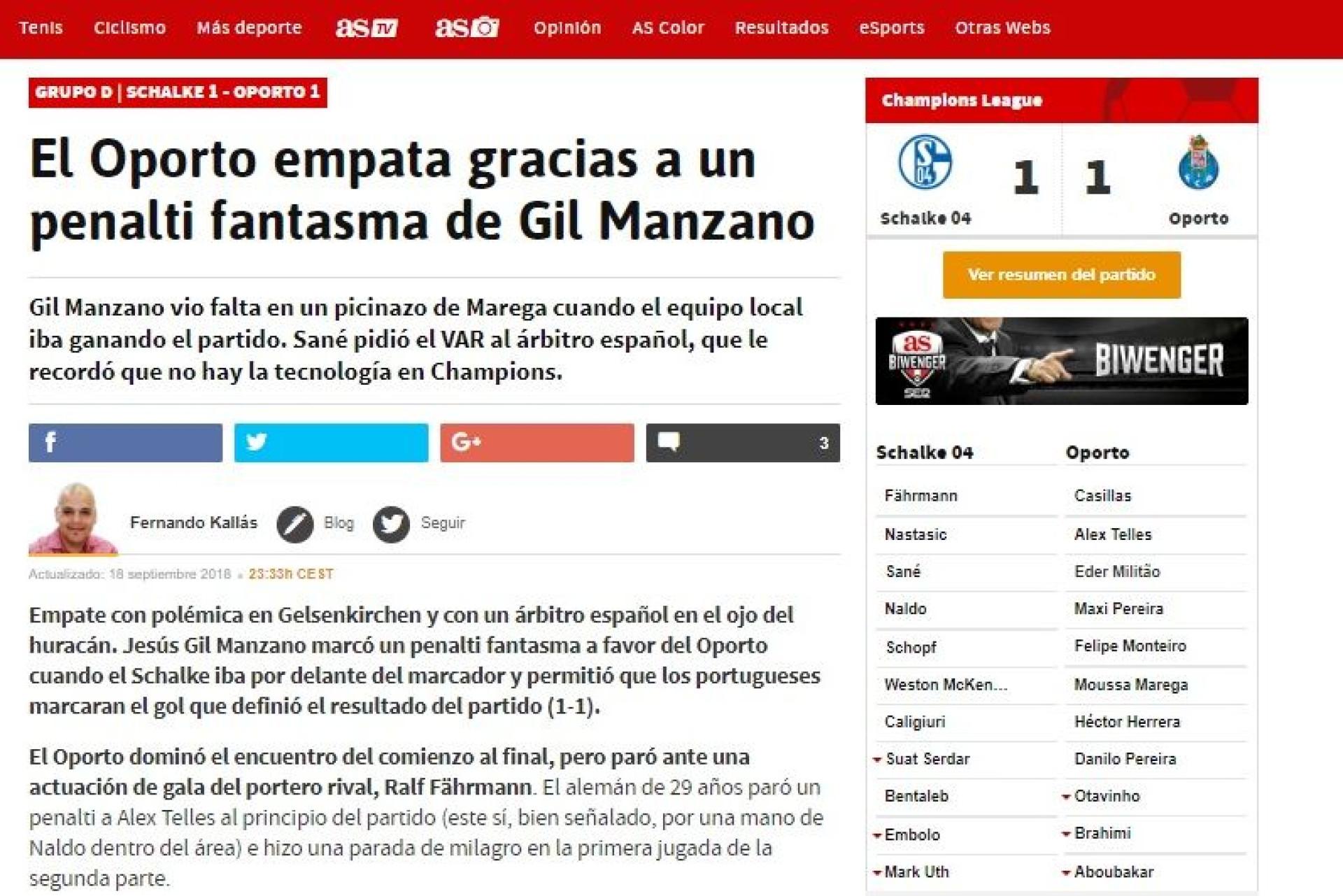 """FC Porto empata com """"penálti fantasma"""". Espanhóis não perdoam Gil Manzano"""