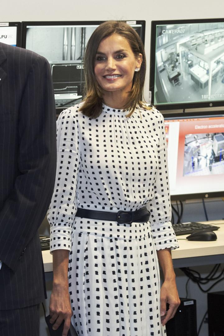 Rainha Letizia destaca-se pela elegância com vestido de padrão