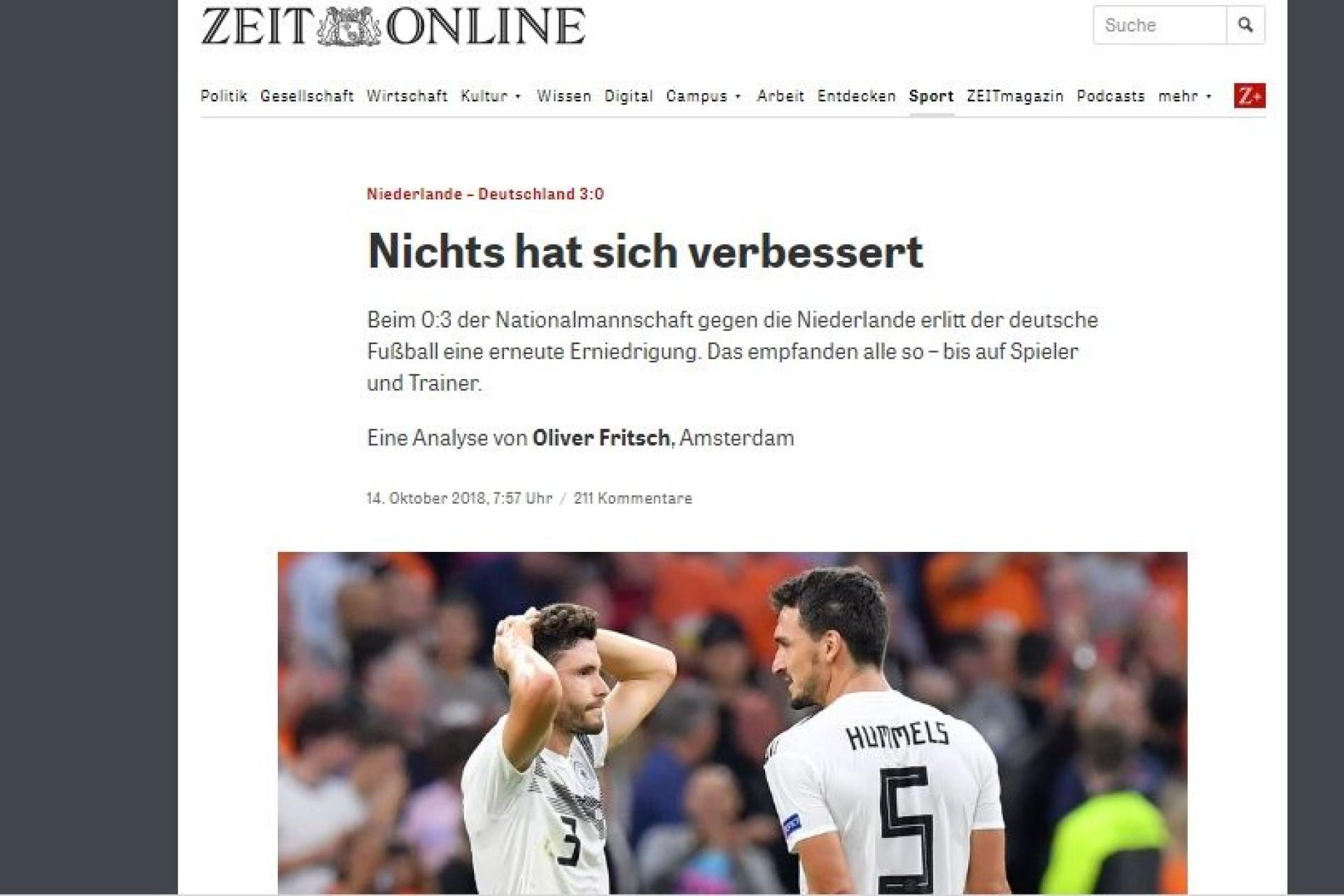 """""""O ano da debacle do futebol alemão: Seleção foi a 'banhos' na Holanda"""""""