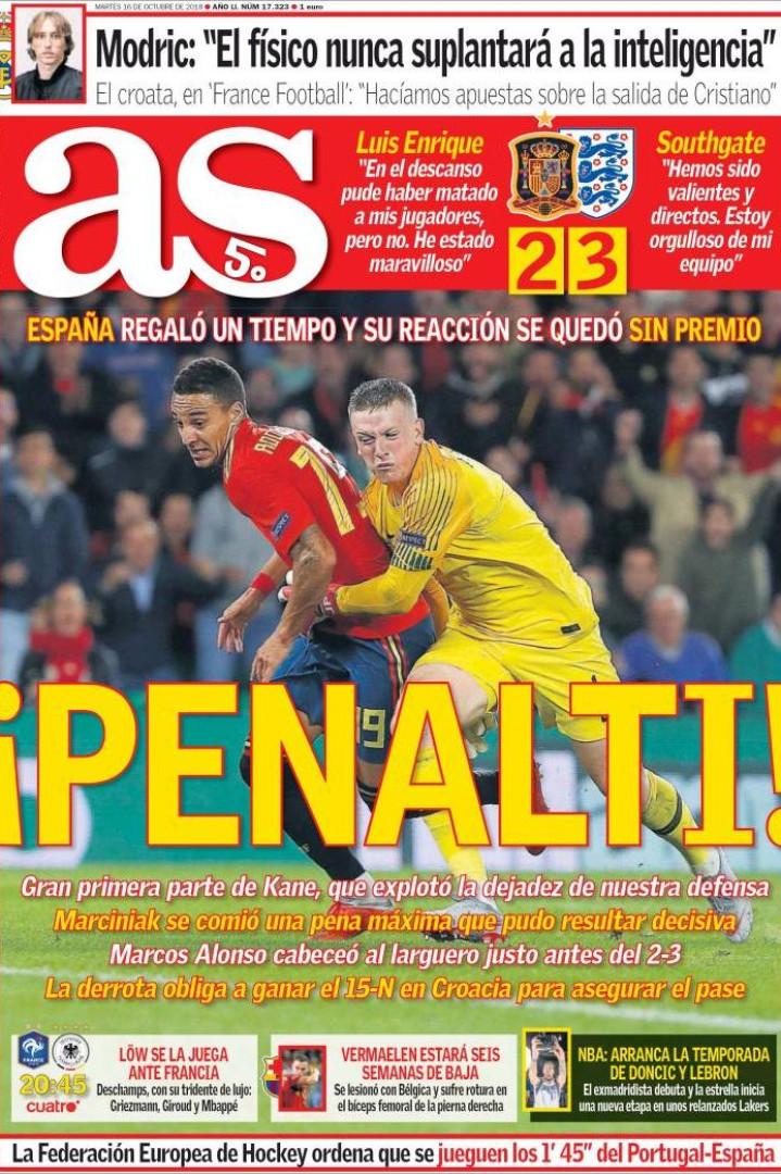 Internacional: Espanha em 'choque' com derrota frente à Inglaterra