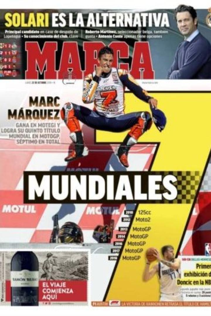 Lá fora: Os 'parabéns' para Marc Márquez e o futuro de Lopetegui