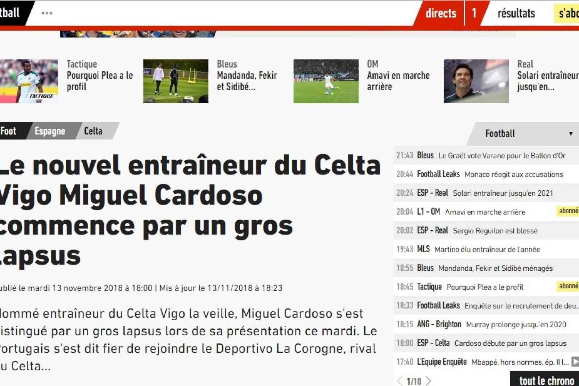 Imprensa internacional não perdoa e o erro de Miguel Cardoso já é viral