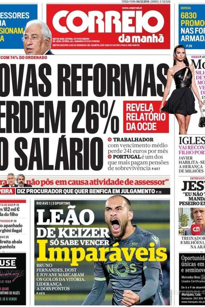 """Hoje é notícia: """"Novas reformas perdem 26%"""" e """"Bombeiros em guerra"""""""