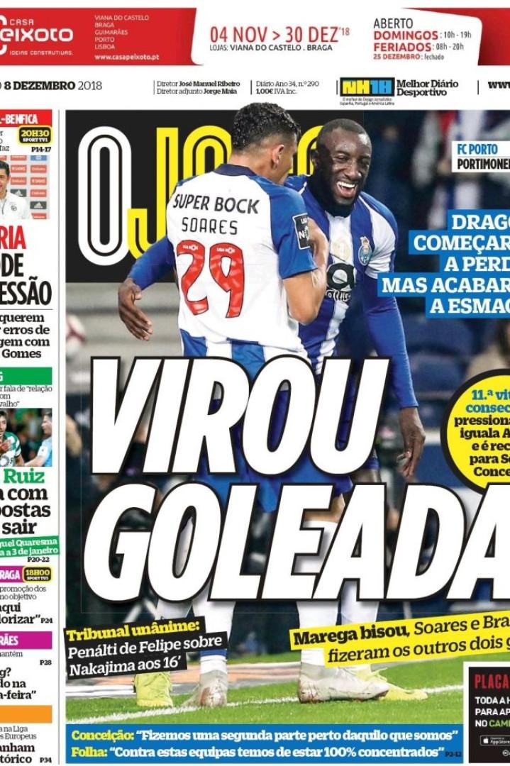 """Imprensa nacional: Dragão """"esmaga"""" e águia """"critica"""" arbitragem"""