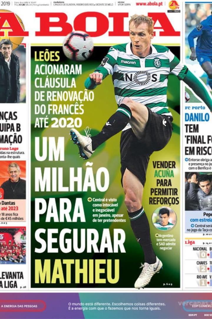 Por cá: Mathieu vai renovar, Vieira pede títulos e a estreia de Pepe