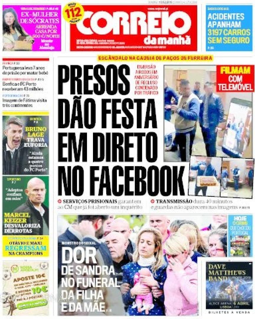 Hoje é notícia: Reclusos em direto no Facebook; Violência com defesa