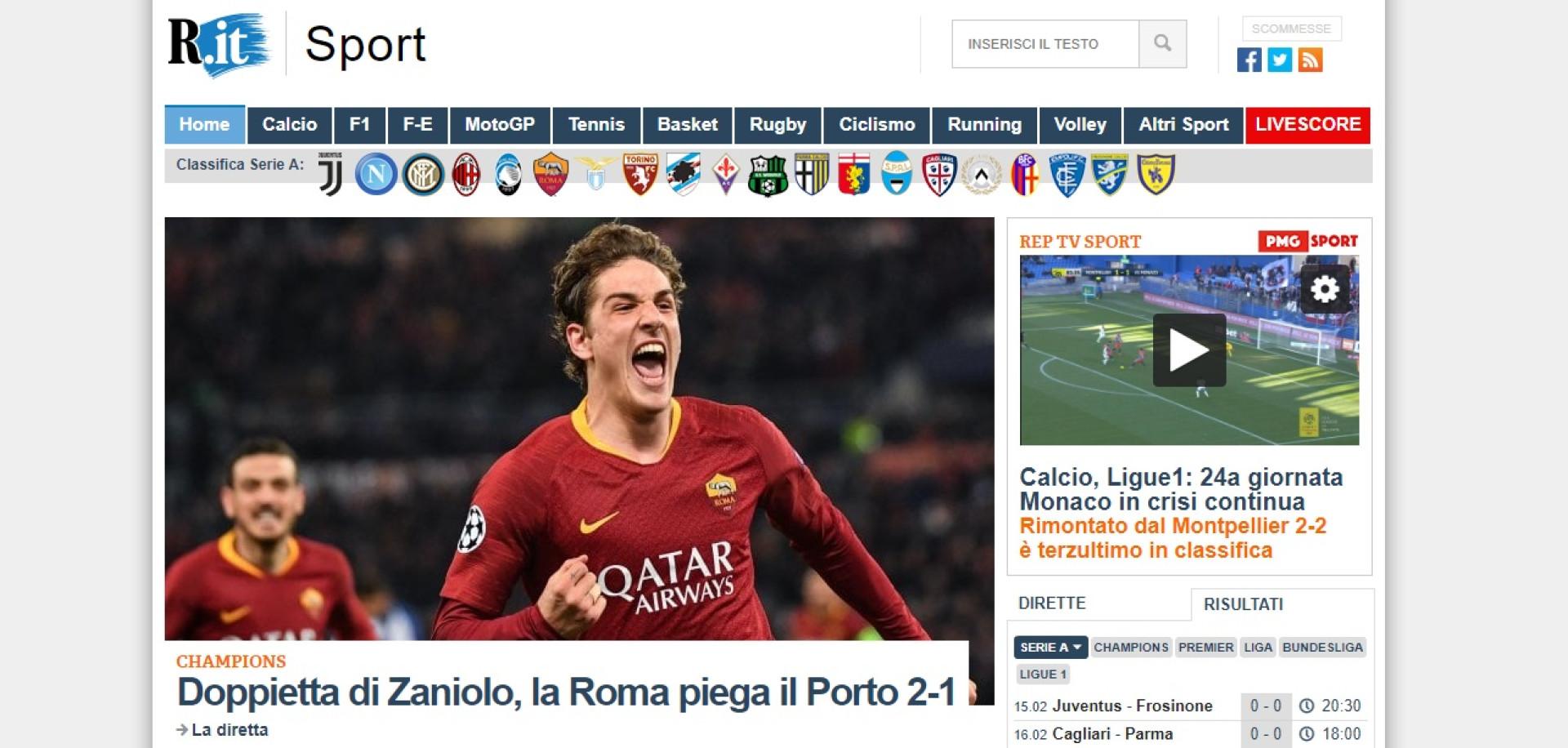 Assim reagiu a imprensa italiana ao triunfo da Roma diante do FC Porto