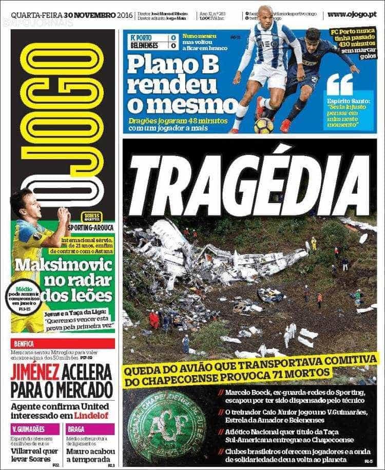 Tragédia do Chapecoense faz manchete na imprensa desportiva europeia