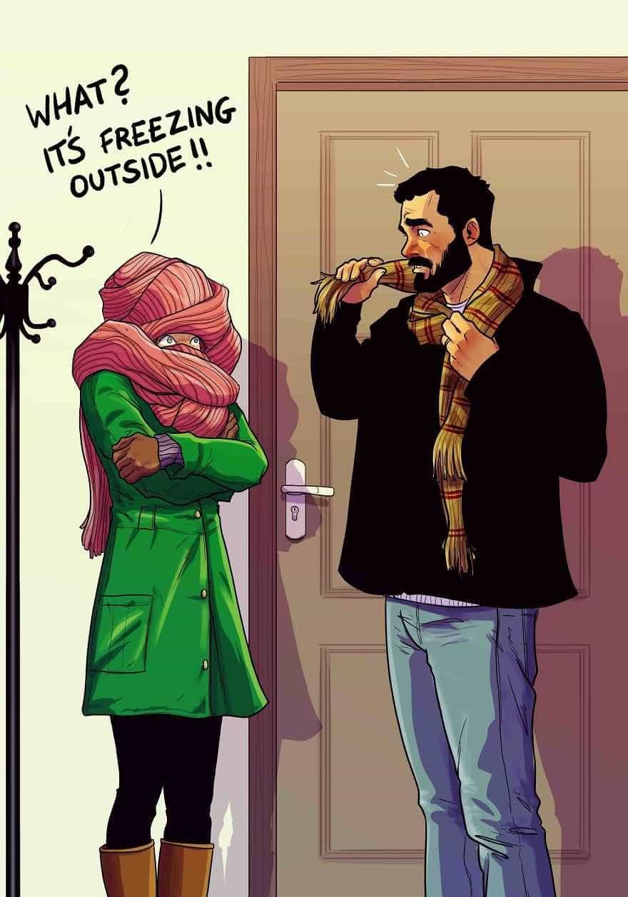 Vida de casal em dez imagens e aos olhos de um artista cómico